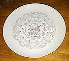 """Vintage 1970 10"""" calendar plate with zodiac signs USA"""