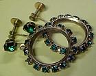 Vintage emerald green rhinestone hoop earings screw bac