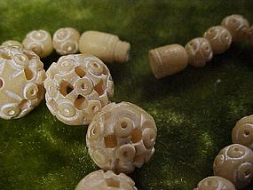 Pre Ban carved puzzlebead Ivory  chokernecklace
