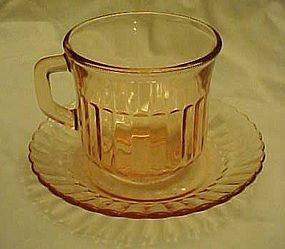 Forte Crisa  Mexico pink glass cup and saucer