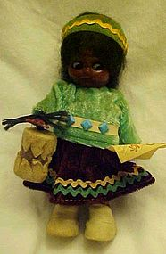 Old Carlson Navajo Princess doll googly eyes and tags