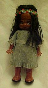 Vintage Carlson Indian girl doll googley eyes