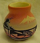 Miniature hand painted Navajo signed pottery vase