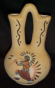 Indian Eagle dance sand painted wedding vase signed JY