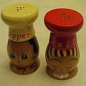 Salty and Peppy wood Chef salt and Pepper Shakers
