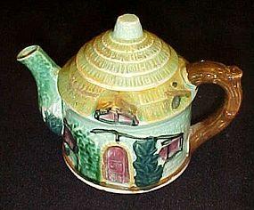 Vintage Japan green thatched cottage ceramic teapot