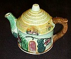 Vintage Japan green thatched cottage ceramic teapot