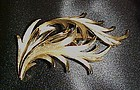 Vintage Crown Trifari gold tone feathers pin