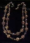 Vintage double strand gold rose beads and crystals