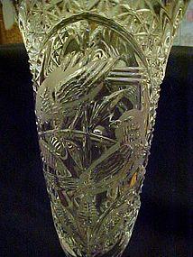 """Vintage Hofbauer Byrdes tall 10 1/2 """" crystal vase"""