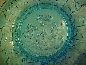 Indiana glass aqua turquoise nursery rhyme plate