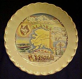 Vintage Alaska souvenir plate sights points of interest