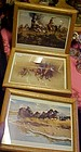 Frank McCarthy western art oak framed prints set of 3
