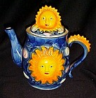Celestial sun and sky hand painted ceramic tea pot