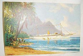 Vintage Clipper Line Onboard Stella Polaris post card