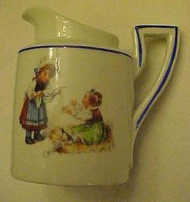 German porcelain child pitcher Victorian children scene