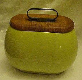 Vintage chartreuse pottery container with  maple lid