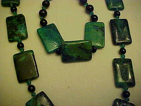 Chunky Malachite necklace and bracelet set