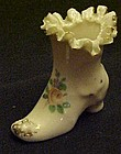 Vintage minature porcelain ruffled ladies boot shoe