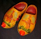 Wooden dutch shoes from Holland souvenir pyrography