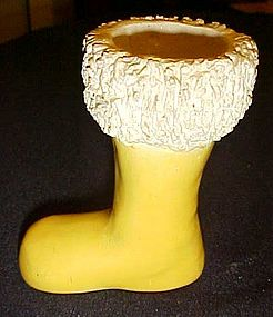 Vintage yellow  pottery Santa boot with coleslaw trim