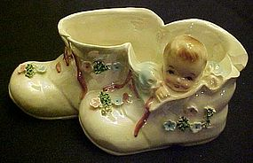 Rare Lefton Baby boy in booties planter 50476