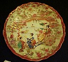 Old Geisha ware  saucer lady in Rickshaw red edge