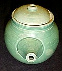 Wheel thrown jadite green glaze pottery tea pot