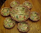 Old Geisha ware rice  or salad set  embossed & moriage