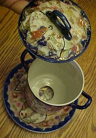 Beautiful Geisha girl ware condensed milk jar and liner
