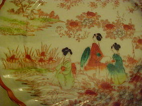 Old Geisha ware plate red orange swirled edge 3 girls