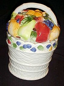 Ceramic basket of fruit cookie jar