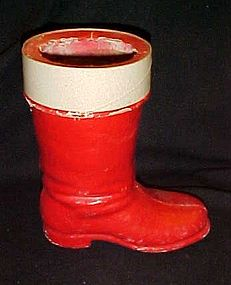 """Old 30's paper mache Santa boot candy container 7.50"""""""