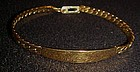 Pretty  gold tone Id bracelet  by Spiedel engraved MOM