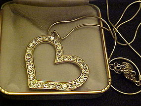 Large rhinestone heart necklace on chain