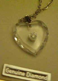 Vanessa Crystal heart Necklace with tiny diamond center