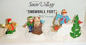 Retired Dept 56 Snowball Fort ceramic Snow Village pcs