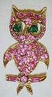 Vintage Pell Pink rhinestone owl pin