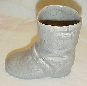 Vintage ceramic biker boot, gray with speckle glaze
