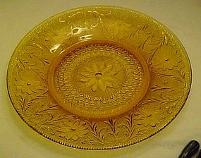 "Tiara amber sandwich glass 10"" dinner plate by Indiana"