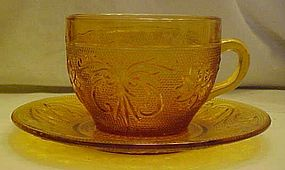 Tiara amber sandwich glass cup and matching saucer