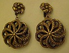 Antiqued gold 3-d clip back earrings NICE!!