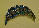Vintage aquamarine rhinestone feather pin unmarked