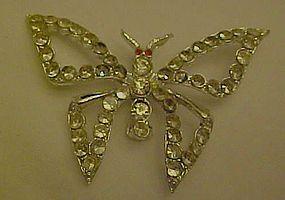 Vintage silvertone rhinestone butterfly pin