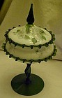 Beautiful Bohemiam hand blown compote with lid