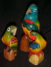 Hand carved painted colorful  parrot figurines set of 3