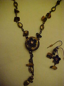 Avon Tiger's eye medallion gift set necklace earrings
