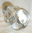 Hand blown crystal Hippo paperweight signed