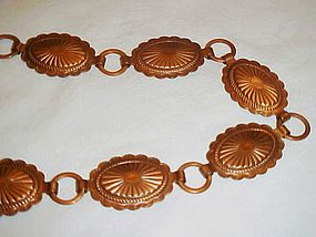 Vintage copper  small size concho belt or hat band 26""