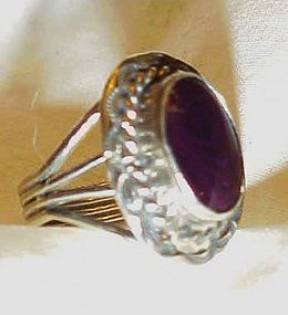 Sterling ring with purple  stone size 8